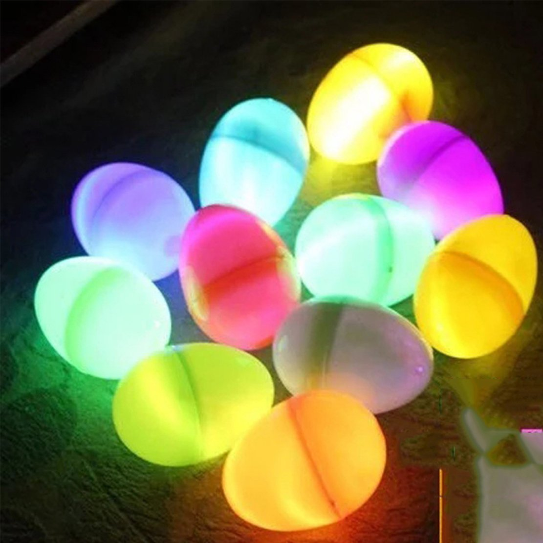 6 Pack 6 Color Easter Eggs for Filling Specific Treats, Easter Glow Theme Party Favor, Easter Eggs Hunt, Basket Stuffers Filler, Classroom Prize, Party Favor