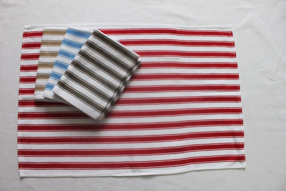 cotton red stripe tea towel for vintage promotion