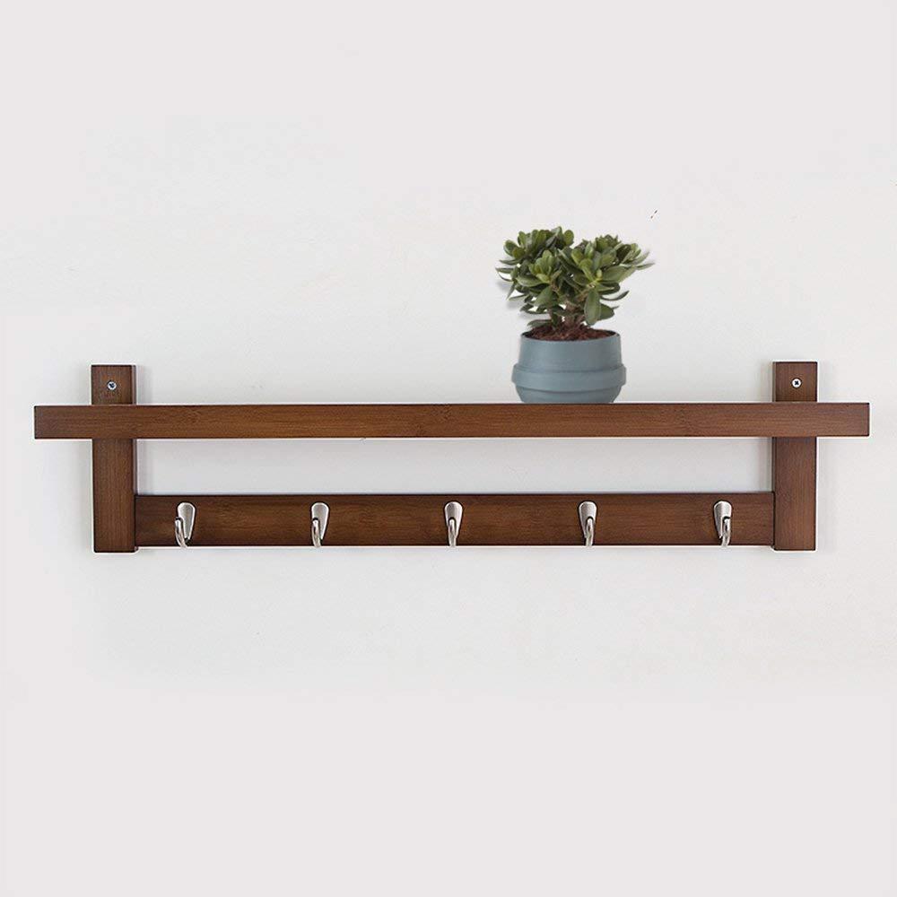 Get Quotations · Coat Rack Bamboo Wall Mount Shelf Coat Hook Rack Unibody  Construction With Alloy Hooks For Hallway