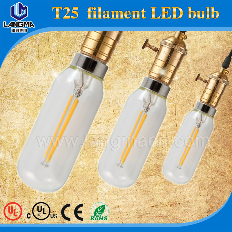 dimmable UL certified CE RoHS 2200K 2700K 3000K 4000K 5000K 60000K E26 E27 edison tubular dimmable filament led bulb