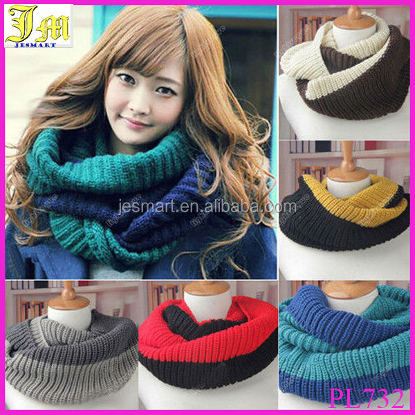 2015 Autumn Winter Warm Infinity 2 Circle Wool Blend Knit Neck Long Women's Scarf Shawl
