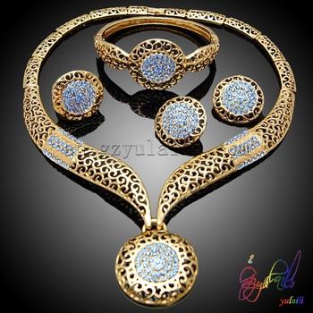 New fashion jewelry set blue diamond pendant costume jewelry set plated gold costume jewelry set & New Fashion Jewelry Set Blue Diamond Pendant Costume Jewelry Set ...