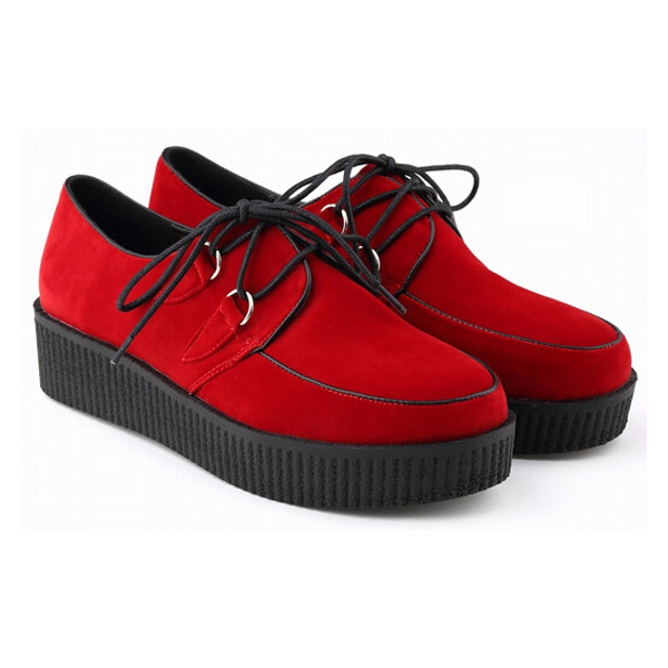 Big Size 35-42 Creepers Platform Shoes 2015 Brand Women Flats Shoes Lace-up Creepers Shoes Sapatos femininos Sapatilha DX2196