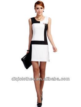 4c61ecd98 Pequeño traje formal empalme render vestido blanco y negro personalizado  fabricantes de ropa al por mayor