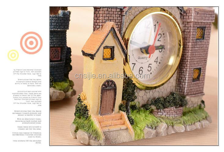Fashion Classical Home Decoration House Craft Resin Table Clock