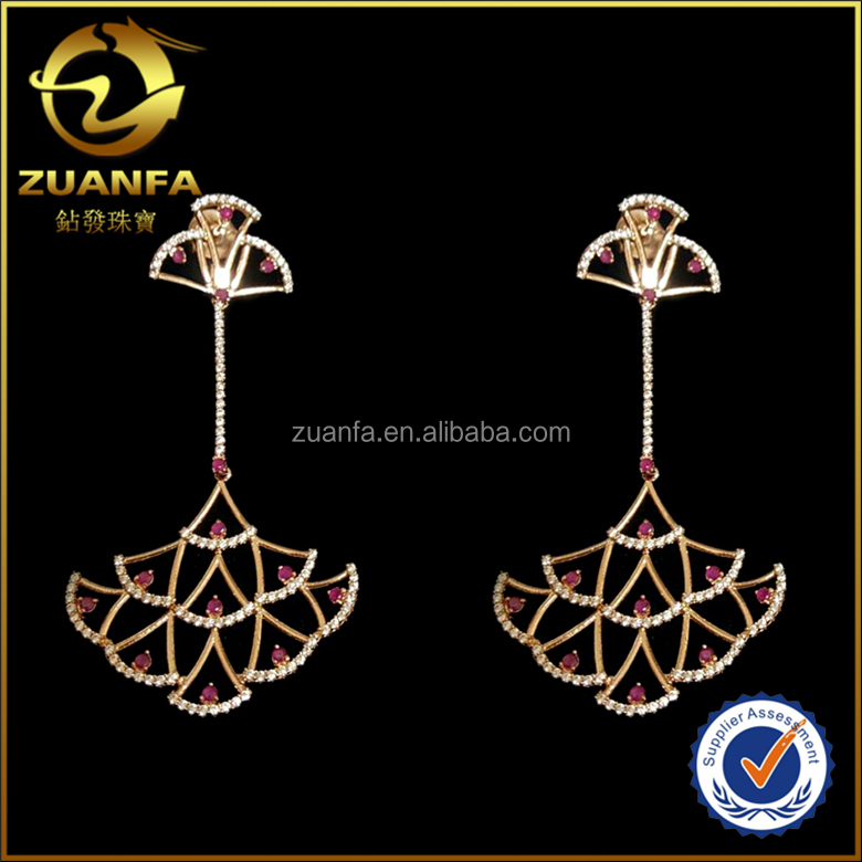 fashion Brazil women joias fan shape dangle earring jewelry gold earrings women
