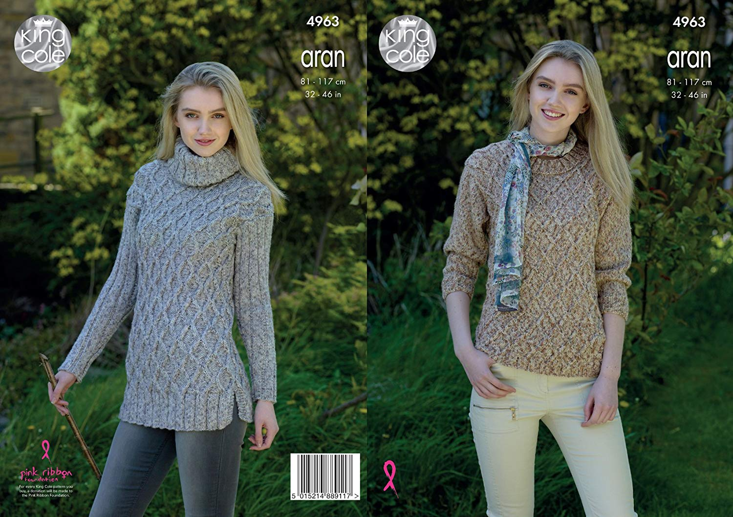 f777610a0 Get Quotations · King Cole Ladies Aran Knitting Pattern Womens Round or Polo  Neck Cable Knit Sweater (4963