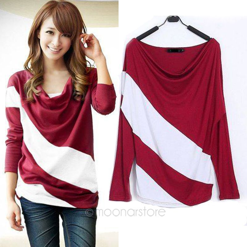 e9ecfb5719b 2015 NEW Womens Trendy Loose Soft long Sleeve Casual Splicing Tops Blouse  TEE ZE3180