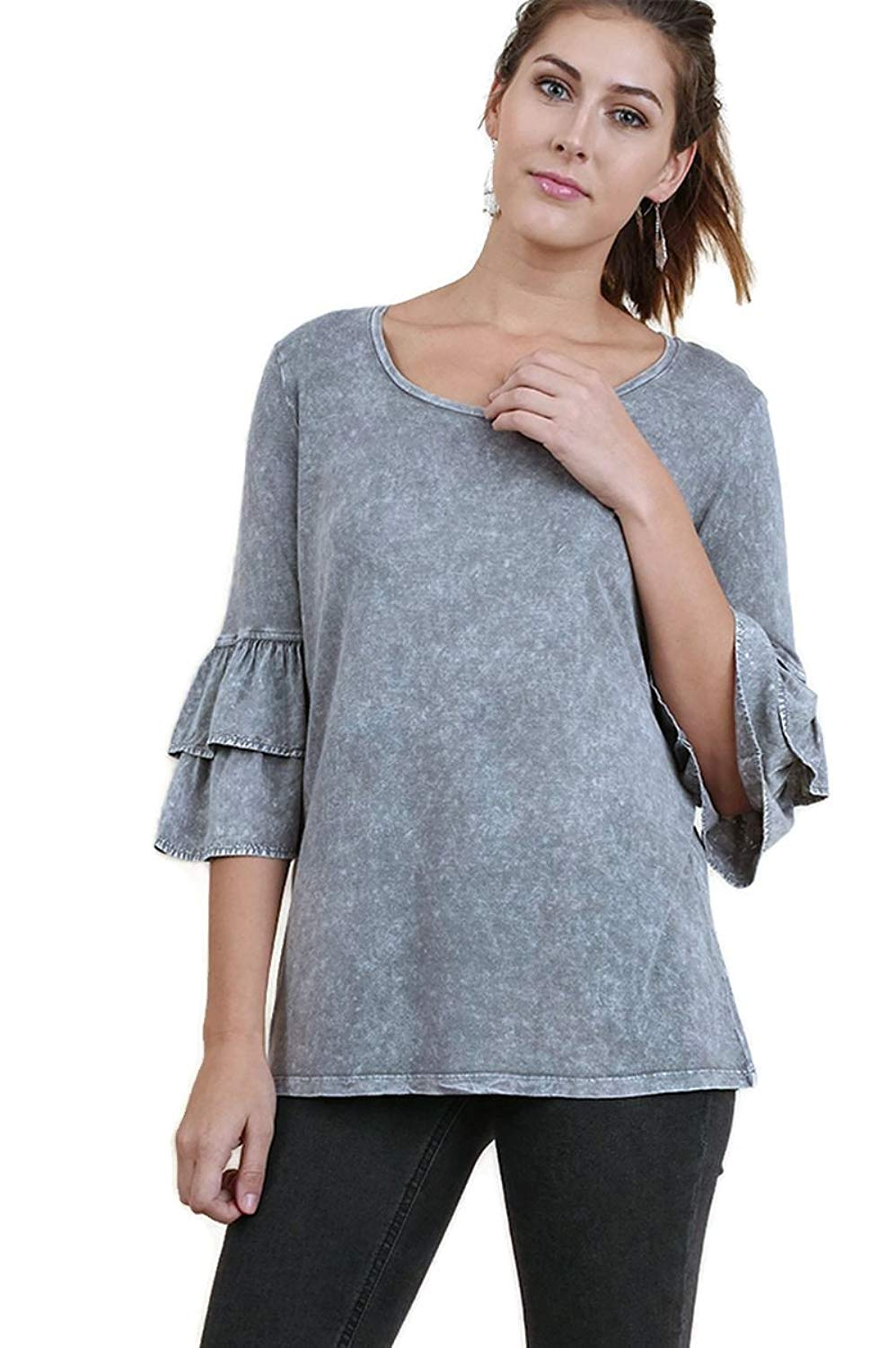 Umgee Women's Mineral Washed Layered Ruffled Bell Sleeve Tunic Top