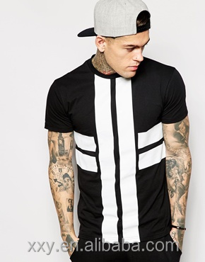 Mens Black And White Stripe T-shirt Fashion New Style Men T-shirts ...