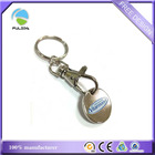 custom print color oval logo metal iron trolley 1Euro coin keyring keychain