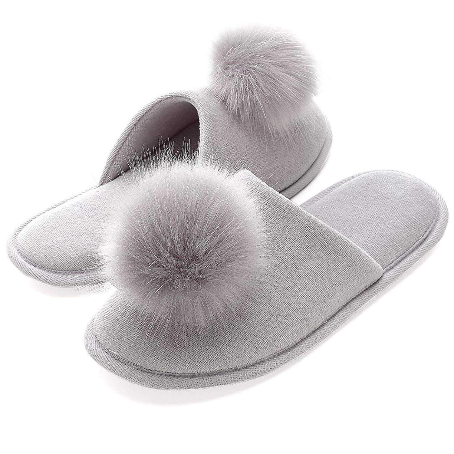 cbae9c5a86d Get Quotations · INFLATION Women s Plush Pom-pom Fuzzy Slippers Fluffy  Slippers Slip on Indoor Outdoor Slippers for