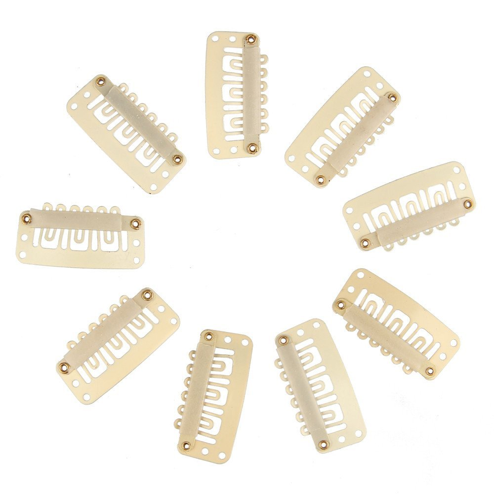 Beauty7 Beige U-Shape Metal Snap Clips With Rubber for Hair Extension Wigs Weft Hairpiece Feather DIY 3.2cm (100PCS)