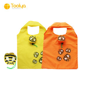 Cheap Cute Bee Reusable Bags custom Animal Foldable Polyester Shopping Bags