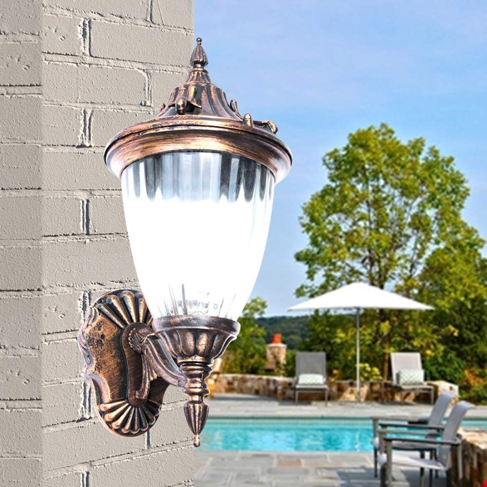 Hines European Antique Victoria Glass Lantern Outdoor Wall Light American Retro Aluminum Bronze Rainproof Waterproof Garden Balcony Gate Courtyard Villa E27 Decoration Wall Lamp