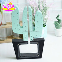 New design cute saving money box wooden cactus coin bank for boys and girls W02A280