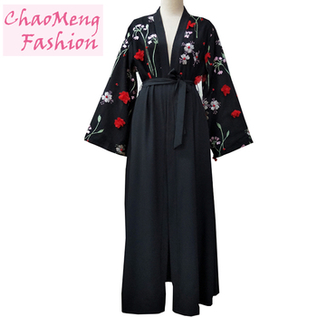 1632# Long sleeve modest fashion 3D floral cardigan Arabia style open abaya for muslim women kimono islamic clothing