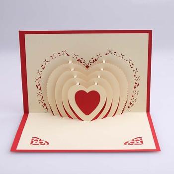 3D Multiples Rouge Pop Up Carte Coeur De Voeux