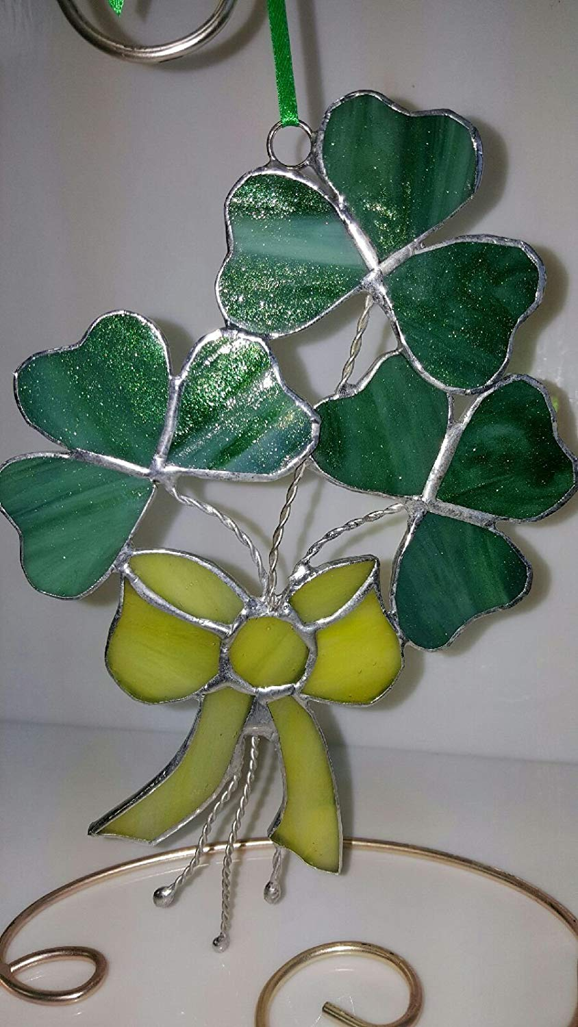 """Shamrock """"Luck of the Irish Bouquet"""", Suncatcher, Stained Glass, Ornament, Beautiful, Custom Handmade 8"""" T and is 5"""" W"""