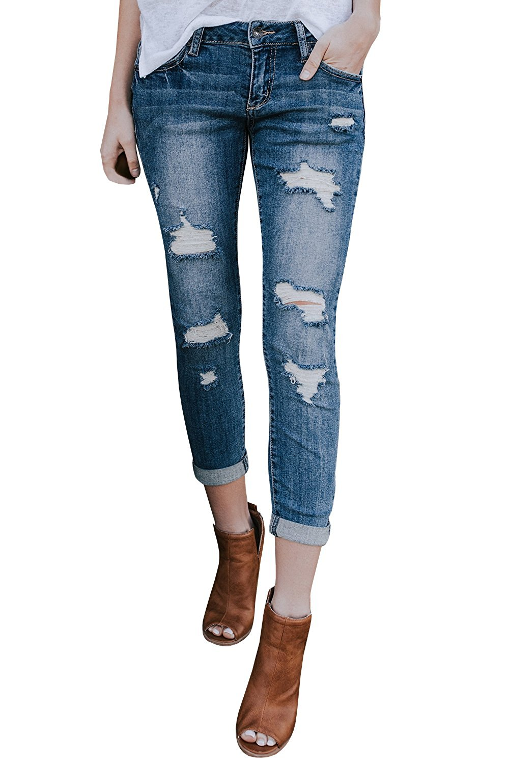c3f8fc37d6034 Get Quotations · Gemijack Womens Ripped Jeans Skinny Boyfriend Distressed  Blue Destroyed Cropped Denim Pants