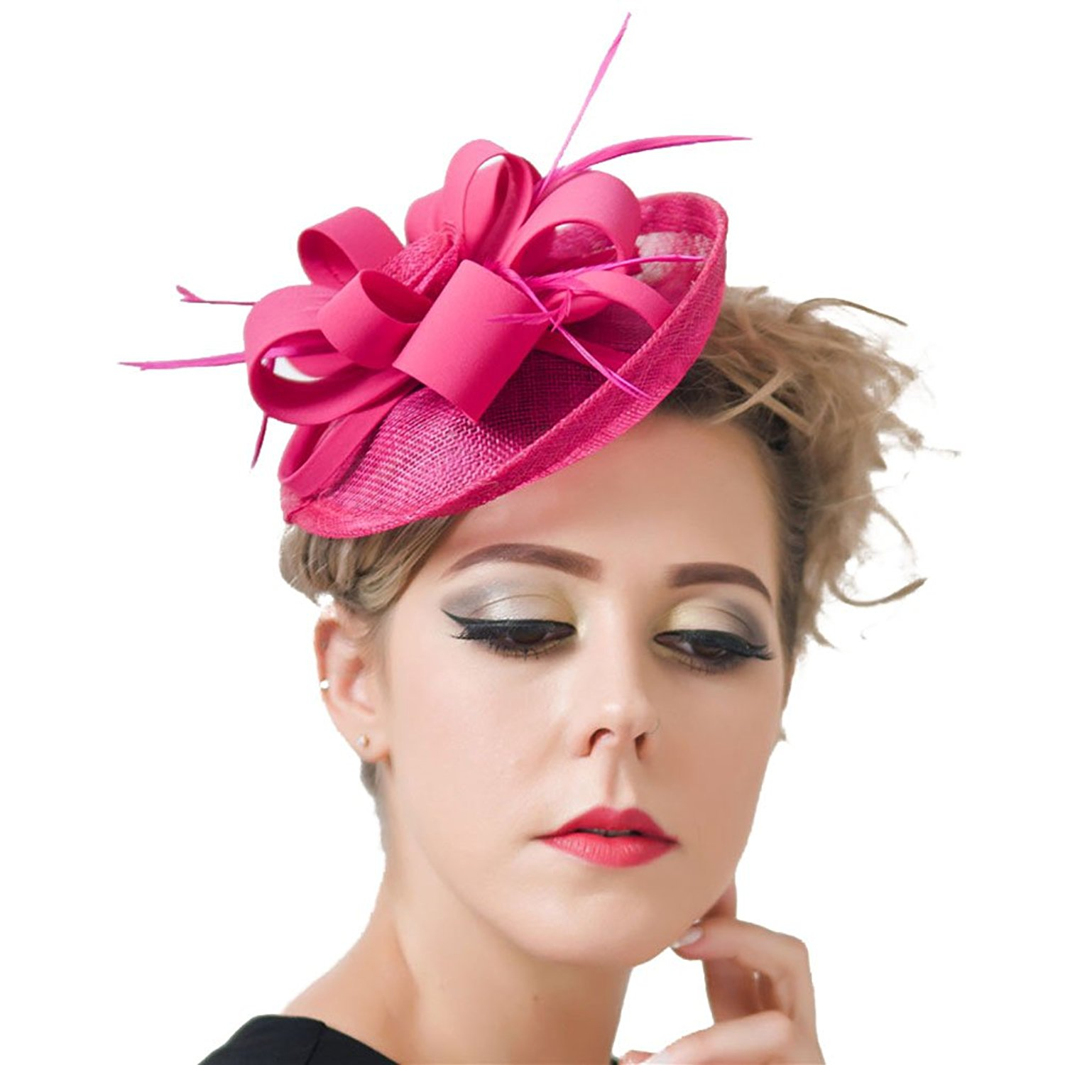 6ed11a14efa CHUANGLI Sinamay Fascinator Pillbox Hat Headband Hair Clip For Cocktail Tea  Party Photo Props accessories