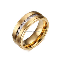 Cool fashion Stainless Steel Gold Plated China Jewelry Wholesale CZ Ring for Women men