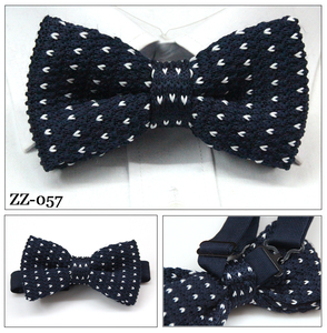 custom solid mens embroider 100% silk knitting bowtie