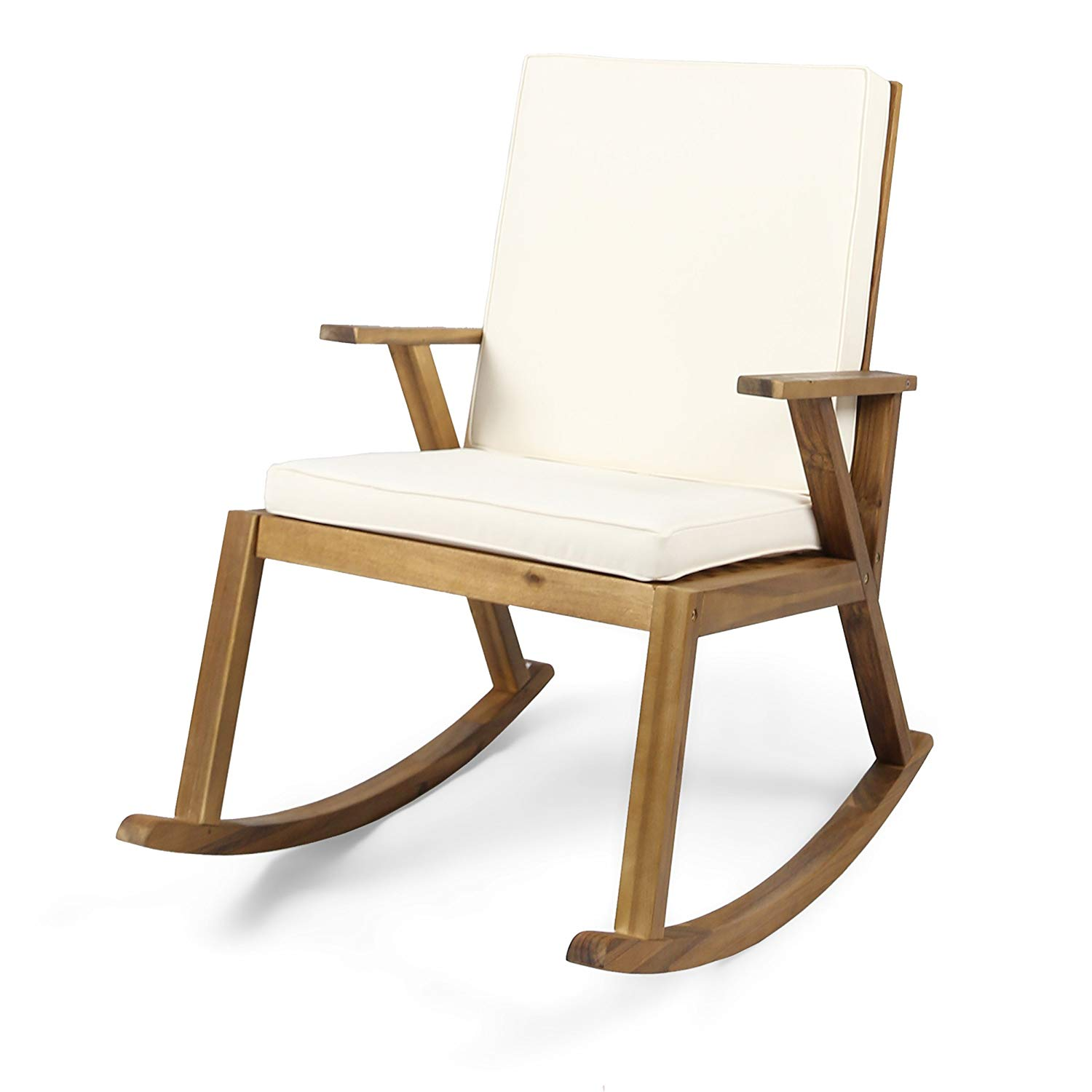 Get Quotations · Great Deal Furniture Brent | Outdoor Acacia Wood Rocking  Chair With Cushion | Teak/Cream