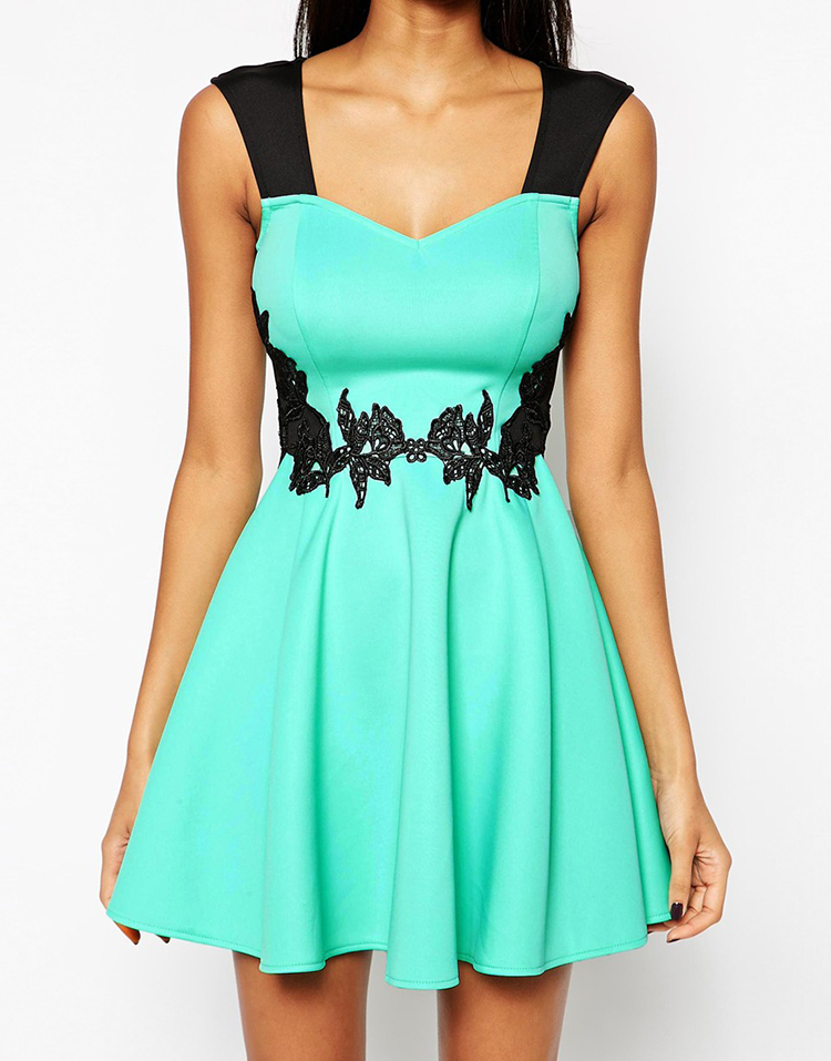Wholesale Smooth fabric Sweetheart neckline Skater Dress With Applique  Waist fashion women turquoise dress a8aa86c09