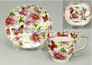 rose design ceramic mug with plate,rose decal ceramic mug with bowl