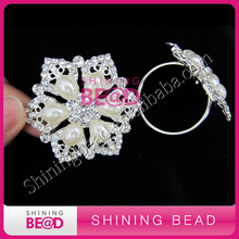 High Quality Crystal Rhinestone Pearl Napkin RIng For Wedding Table