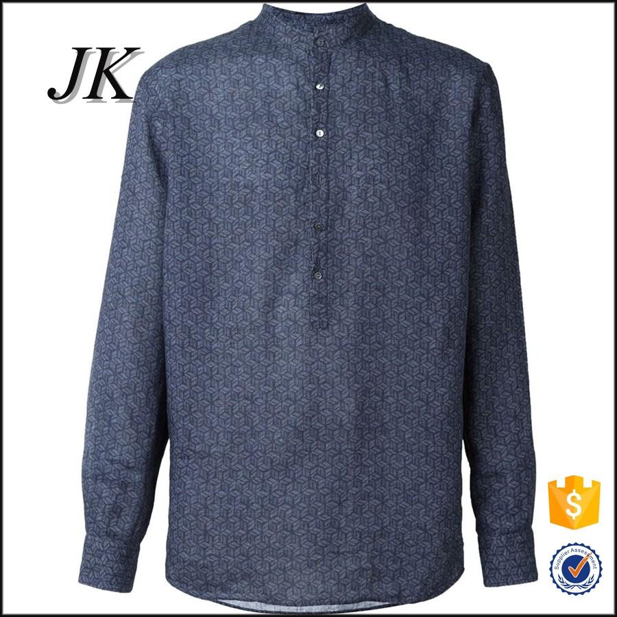 74b94e756eb 2016 new design casual mens long sleeve all over printing mandrain stand  collar half closure shirt