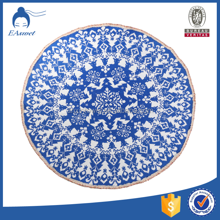 2016 Christmas gifts knitting cotton large Popular Round Beach Towel