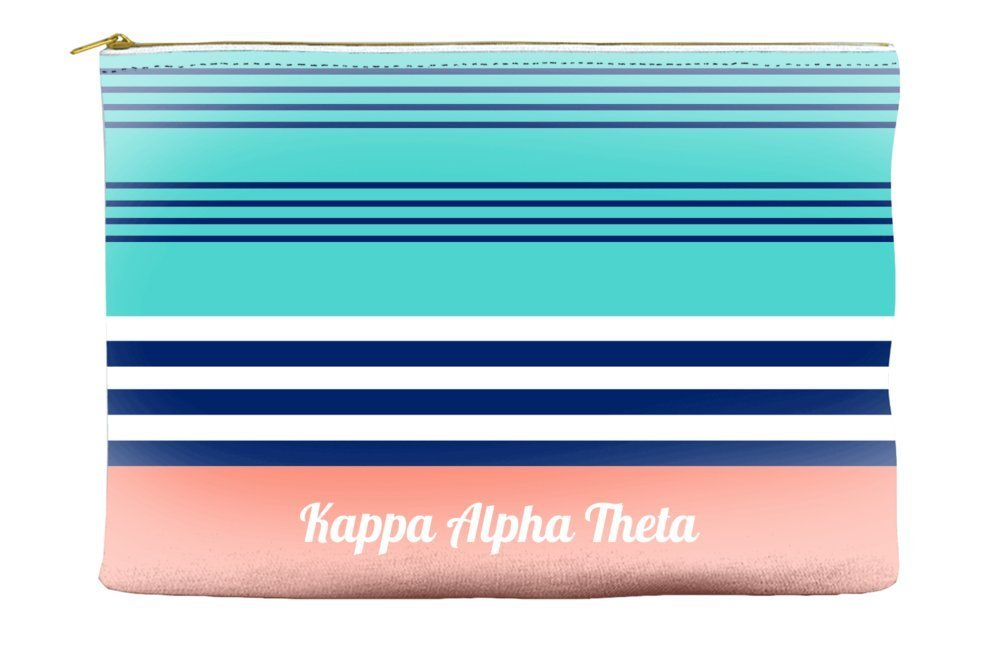 Kappa Alpha Theta Color Block Teal Cosmetic Accessory Pouch Bag for Makeup Jewelry & other Essentials