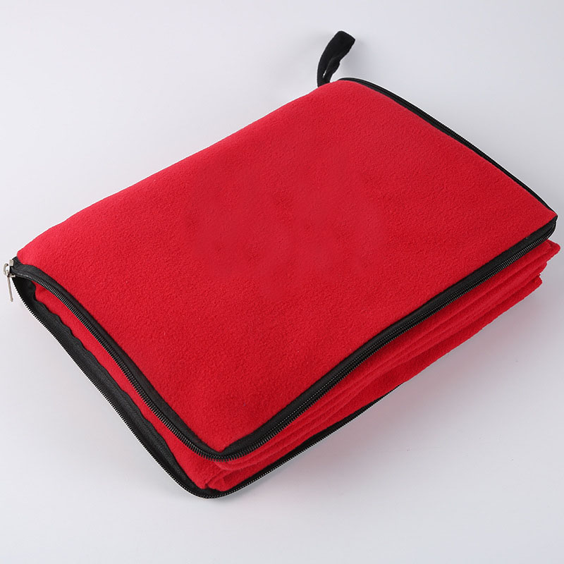 Ultra Soft 100% Polyester Fleece travel blanket in pouch