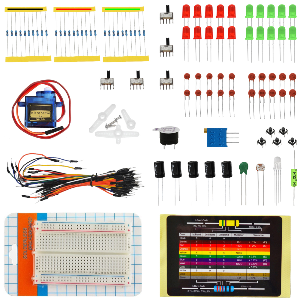 KEYES 400 <strong>hole</strong> Breadboard + Ceramic Capacitors + Resistors + More kit for Arduino - Multicolored