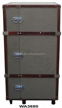Jute Steamer Trunk Bar Cabinet Cupboard
