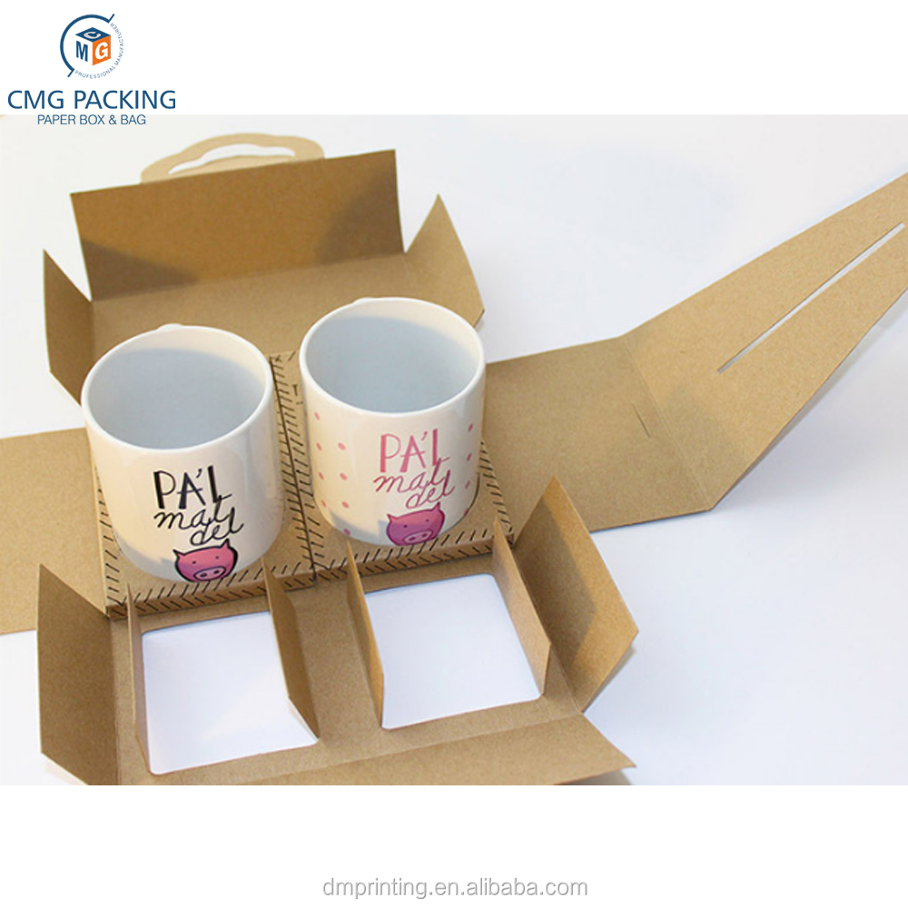 custom print kraft paper packaging for two mug