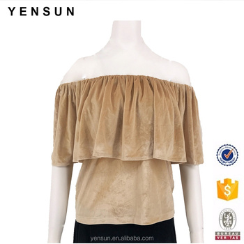 da112bf4de0a37 Ladies Autumn Winter Velvet One Shoulder Casual Blouse And Top - Buy ...