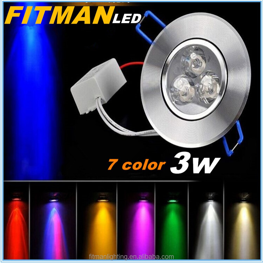 Red/green/blue/yellow/warm white/white color 3w recessed led down ceiling light