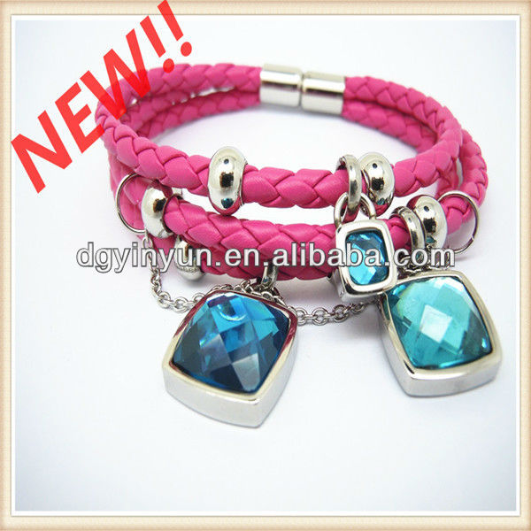 YY-9027 stainless steel PU leather alibaba china bracelet womens accessories wholesale