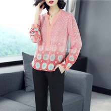 Vrouwen real <span class=keywords><strong>zijden</strong></span> v-hals print <span class=keywords><strong>blouse</strong></span>