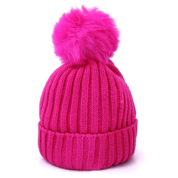 Hot sell  winter buttery soft   kids beanie hat with fur ball pompom beanie hat