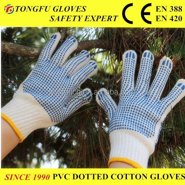Double Side Blue PVC Dotted Gloves Stock Glove Working Gloves Winter