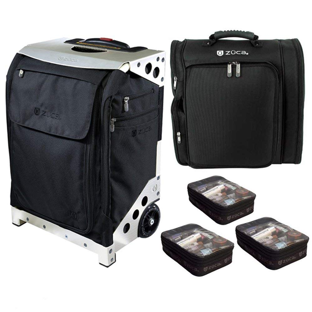 ZUCA Flyer Artist Carry-On Bag (Black/Silver) with 5 Stacking Pouches + Artist Backpack + Three Extra Pouches