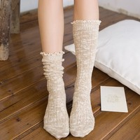 Plain cashmere vintage cable custom knitted winter warm for girls ladies knit women boot socks