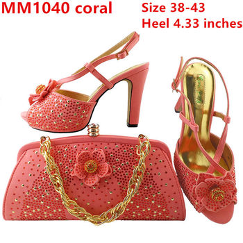 High Heel Nigeria Party Italian Shoes And Bags Set To Match With Stones