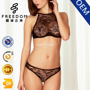 Sexy designer new designer young girls transparent high neck lace bra and  bikini panty set in de4a7ae88