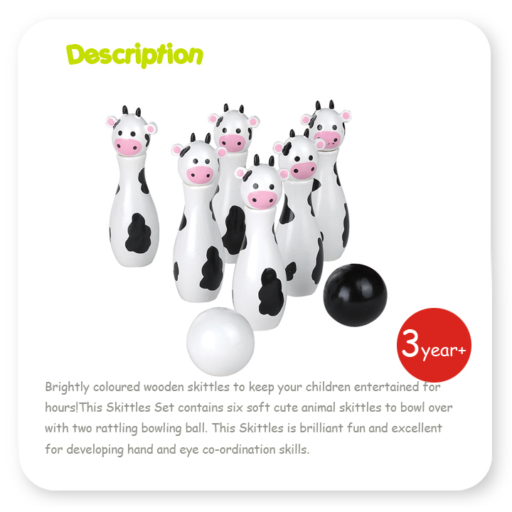 Cute Animal Skittle Kit Education Toys for Baby Wooden Bowling