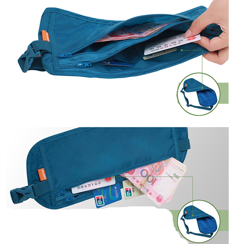 Ultrathin travel Money Belt - Comfortable Travel Waist wallet Stash, undercover for Carrying Money, Passport Credit Card/I.D